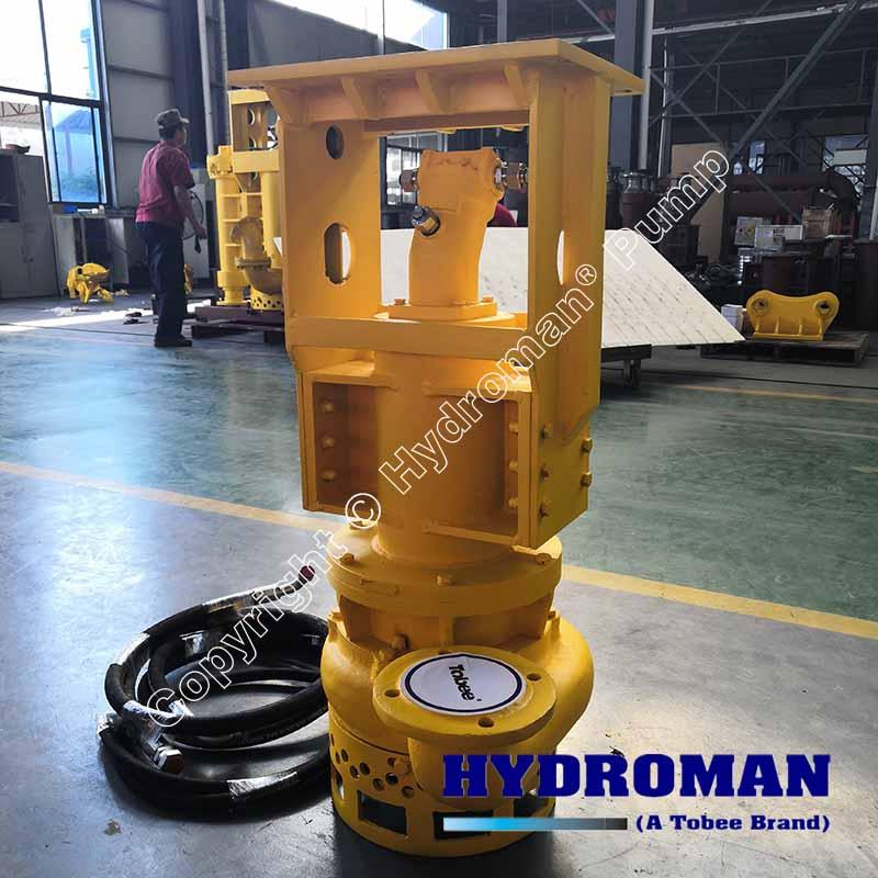 Excavator submersible hydraulic dredging pump