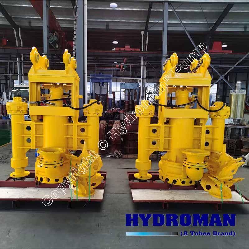 Submersible hydraulic slurry pumps