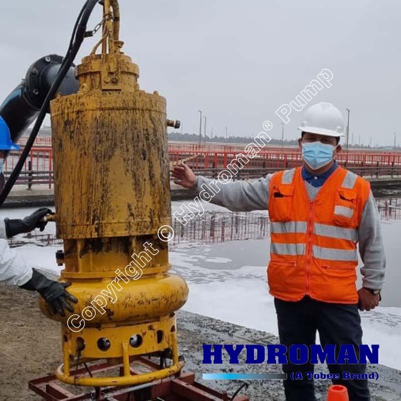 Submersible sewage sludge dewatering pumps with agitator